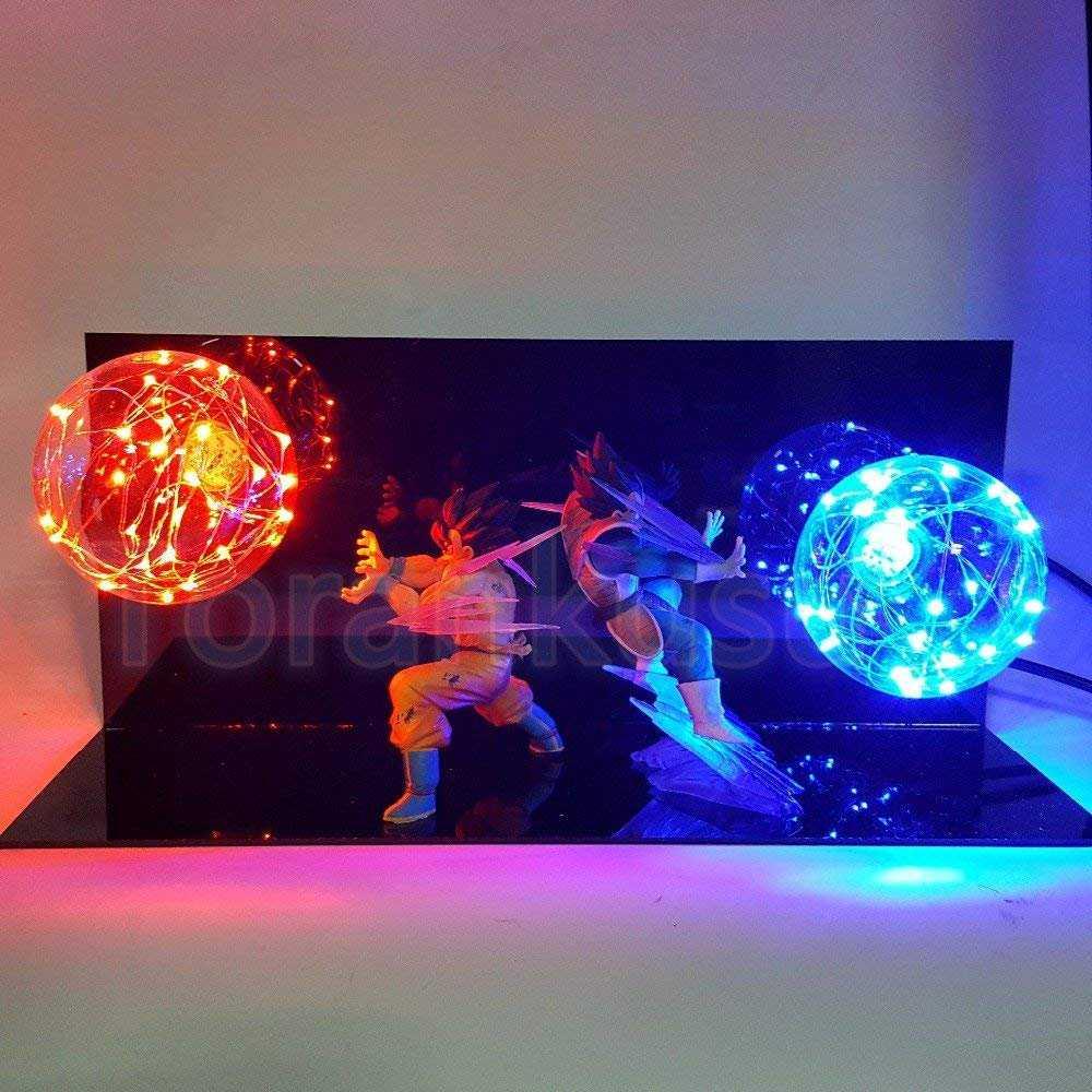 RARE Dragon Ball Z Goku /& Brolly Power Up Led Light Lamp Action Figure Whole Set